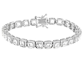 White Cubic Zirconia Rhodium Over Sterling Silver Tennis Bracelet 19.25ctw