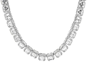 White Cubic Zirconia Rhodium Over Sterling Silver Tennis Necklace 47.63ctw