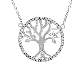 White Cubic Zirconia Rhodium Over Sterling Silver Tree Of Life Necklace 0.47ctw (0.26ctw DEW)