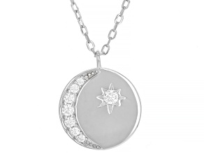White Cubic Zirconia Rhodium Over Sterling Silver Moon And Star Necklace 0.31ctw (0.18ctw DEW)
