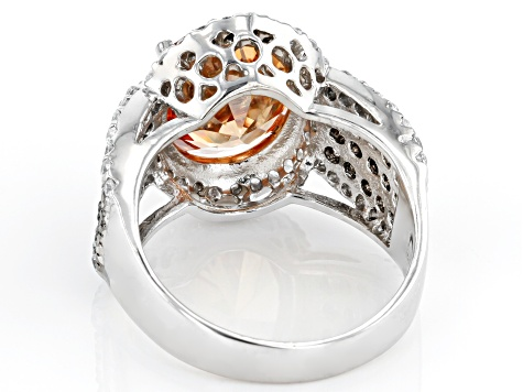 Champagne, Mocha, And White Cubic Zirconia Rhodium Over Silver Ring 11.51ctw