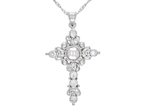 White Cubic Zirconia Rhodium Over Sterling Silver Cross Pendant With Chain 1.20ctw