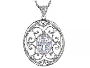 White Cubic Zirconia Rhodium Over Sterling Silver Pendant With Chain 10.10ctw
