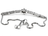 White Cubic Zirconia Rhodium Over Sterling Silver Adjustable Bracelet 1.10ctw