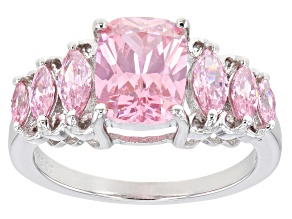 Pink Cubic Zirconia Rhodium Over Sterling Silver Ring 4.96ctw