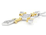 White Cubic Zirconia Rhodium And 14K Yellow Gold Over Silver Cross Pendant With Chain 1.20ctw
