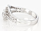 White Cubic Zirconia Rhodium Over Sterling Silver Ring 1.68ctw