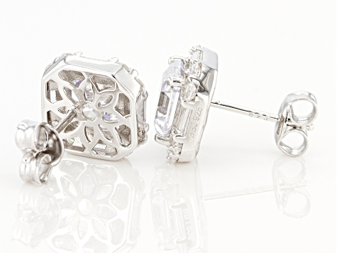 Asshcer Cut White Cubic Zirconia Rhodium Over Sterling Silver Earrings 7.17ctw