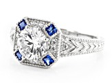 Lab Created Blue Spinel And White Cubic Zirconia Rhodium Over Sterling Silver Ring 2.73ctw