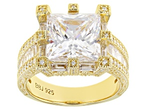 White Cubic Zirconia 18k Yellow Gold Over Sterling Silver Ring 12.00ctw