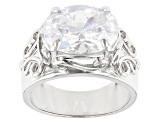 White Cubic Zirconia Rhodium Over Sterling Silver Ring 10.28ctw
