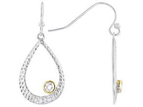 White Cubic Zirconia Rhodium And 14K Yellow Gold Over Sterling Silver Earrings 0.36ctw
