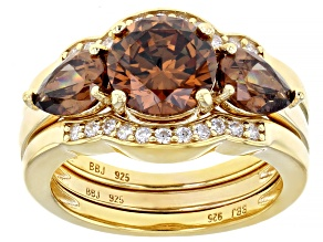Mocha And White Cubic Zirconia 18k Yellow Gold Over Sterling Silver Ring With Bands 6.39ctw