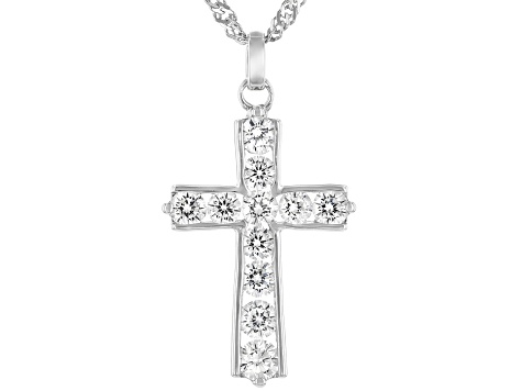 White Cubic Zirconia Rhodium Over Sterling Silver Cross Pendant With Chain 2.63ctw