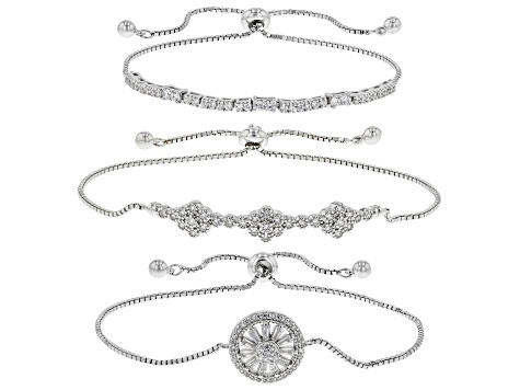White Cubic Zirconia Rhodium Over Sterling Silver Adjustable Bracelet Set of 3 4.19ctw
