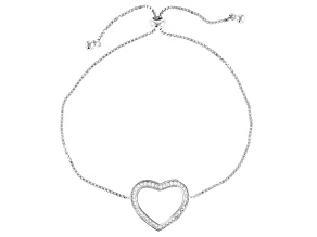 White Cubic Zirconia Rhodium Over Sterling Silver Heart Adjustable Bracelet 0.40ctw