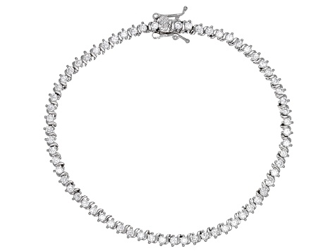 White Cubic Zirconia Rhodium Over Sterling Silver Tennis Bracelet 3.96ctw