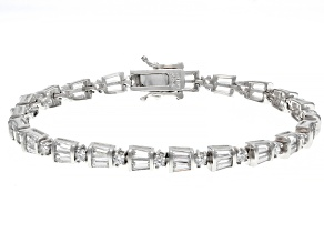 White Cubic Zirconia Rhodium Over Sterling Silver Tennis Bracelet 6.28ctw