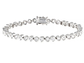 White Cubic Zirconia Rhodium Over Sterling Silver Tennis Bracelet 7.02ctw