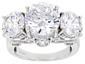 White Cubic Zirconia Rhodium Over Sterling Silver Ring 15.12ctw