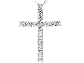 White Cubic Zirconia Rhodium Over Silver Cross Pendant With Chain 3.60ctw