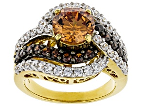 Champagne, Mocha, and White Cubic Zirconia 18K Yellow Gold Over Silver Ring 6.05ctw