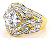 White Cubic Zirconia 18K Yellow Gold Over Sterling Silver Ring 4.50ctw