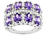 Purple And White Cubic Zirconia Rhodium Over Sterling Silver Ring 6.87ctw