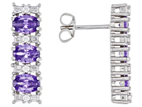 Purple And White Cubic Zirconia Rhodium Over Sterling Silver Earrings 4.87ctw