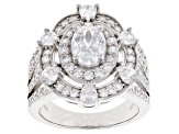 White Cubic Zirconia Rhodium Over Sterling Silver Ring 5.43ctw