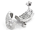 White Cubic Zirconia Rhodium Over Sterling Silver Earrings 4.28ctw