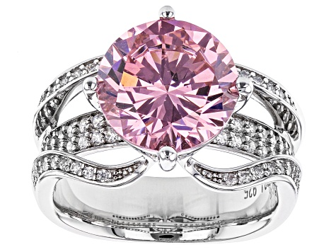 Pink And White Cubic Zirconia Rhodium Over Sterling Silver Ring 11.44ctw