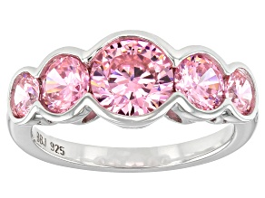 Pink Cubic Zirconia Rhodium Over Sterling Silver Ring 5.65ctw