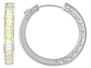 Yellow Cubic Zirconia Rhodium Over Sterling Silver Hoop Earrings 5.78ctw