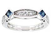 White And Blue Cubic Zirconia Rhodium Over Sterling Silver Ring With Band 8.55ctw