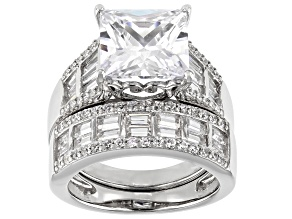White Cubic Zirconia Rhodium Over Sterling Silver Ring With Band 12.49ctw