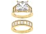 White Cubic Zirconia 18K Yellow Gold Over Sterling Silver Ring With Band 12.49ctw