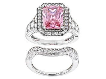 Picture of Pink And White Cubic Zirconia Rhodium Over Sterling Silver Ring With Band 9.04ctw