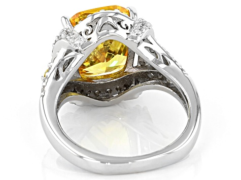 Yellow And White Cubic Zirconia Rhodium Over Sterling Silver Ring 7.59ctw