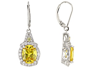 Yellow And White Cubic Zirconia Rhodium Over Sterling Silver Earrings 13.37ctw