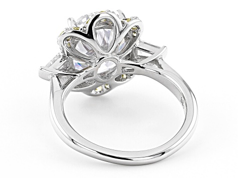White And Yellow Cubic Zirconia Rhodium Over Sterling Silver Ring 10.87ctw