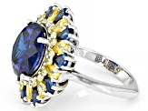 Blue And Yellow Cubic Zirconia Rhodium Over Sterling Silver Ring 16.06ctw