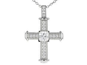 White Cubic Zirconia Platinum Over Sterling Silver Cross Pendant With Chain 1.84ctw