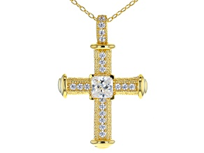 White Cubic Zirconia 18K Yellow Gold Over Sterling Silver Cross Pendant With Chain 1.84ctw