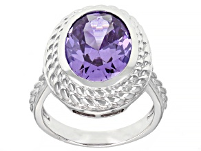 Lavender Cubic Zirconia Rhodium Over Sterling Silver Ring 9.55ctw
