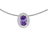 Lavender Cubic Zirconia Rhodium Over Sterling Silver Pendant With Omega Chain 9.55ctw