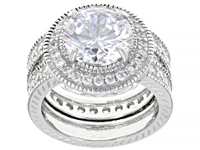 White Cubic Zirconia Rhodium Over Sterling Silver Ring With Band 9.86ctw