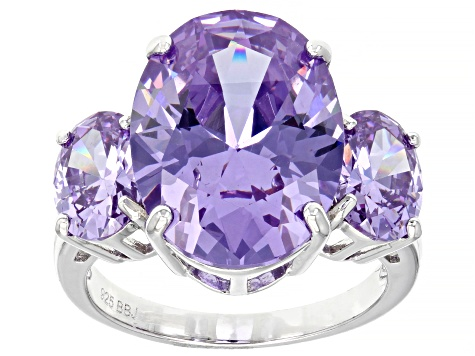 Lavender Cubic Zirconia Rhodium Over Sterling Silver 20.90ctw