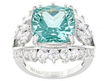 Picture of Lab Created Green Spinel And White Cubic Zirconia Rhodium Over Silver Ring 11.19ctw