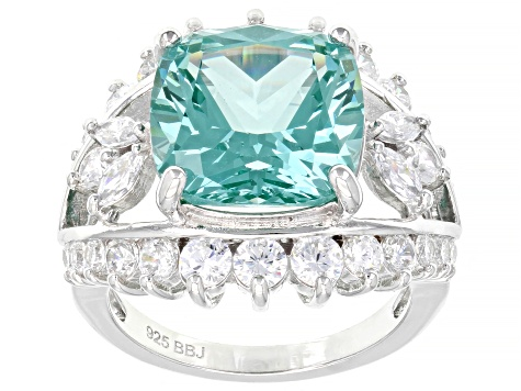 Lab Created Green Spinel And White Cubic Zirconia Rhodium Over Silver Ring 11.19ctw